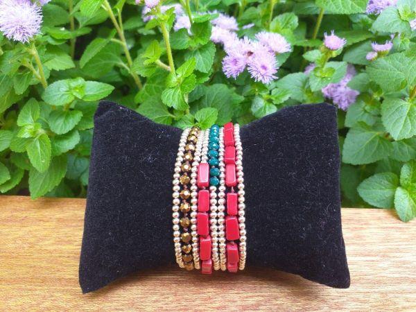 HWB959 Thailand Unique Stone Metal Bead Bracelet