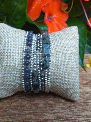 HWB969B Thailand Unique Stone Metal Bead Bracelet