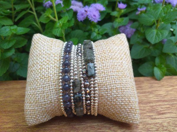 HWB969 Thailand Unique Stone Metal Bead Bracelet