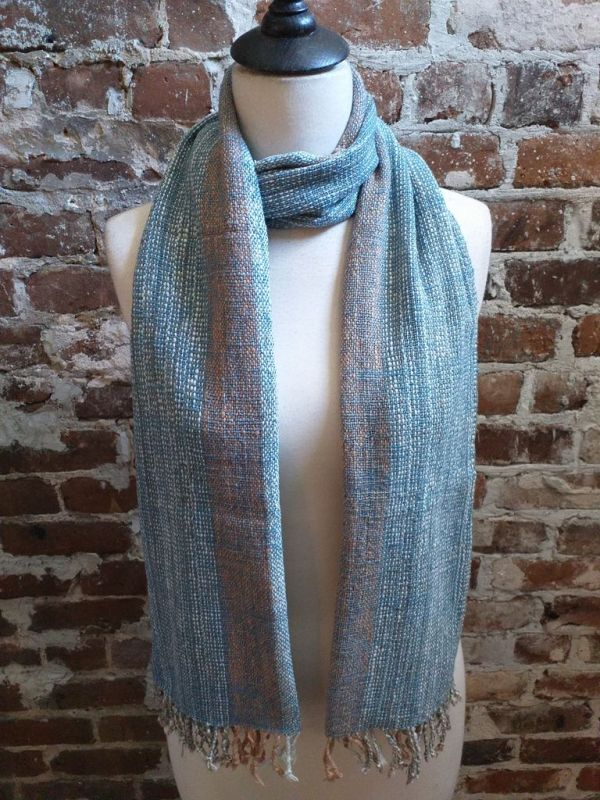 IDD901B Hand Woven Cotton Natural Indigo Dye Scarf