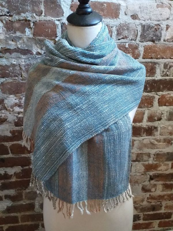 IDD901E Hand Woven Cotton Natural Indigo Dye Scarf