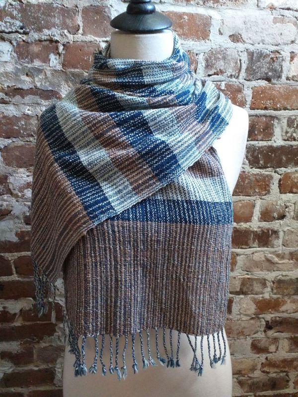 IDD902E Hand Woven Cotton Natural Indigo Dye Scarf