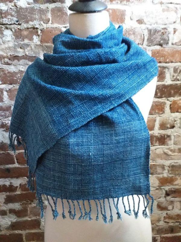 IDD903E Hand Woven Cotton Natural Indigo Dye Scarf