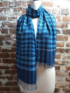 IGD901A Hand Woven Rayon Natural Indigo Dye Scarf