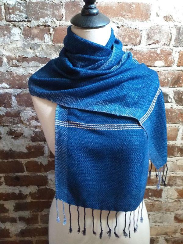 IGD903D Hand Woven Rayon Natural Indigo Dye Scarf