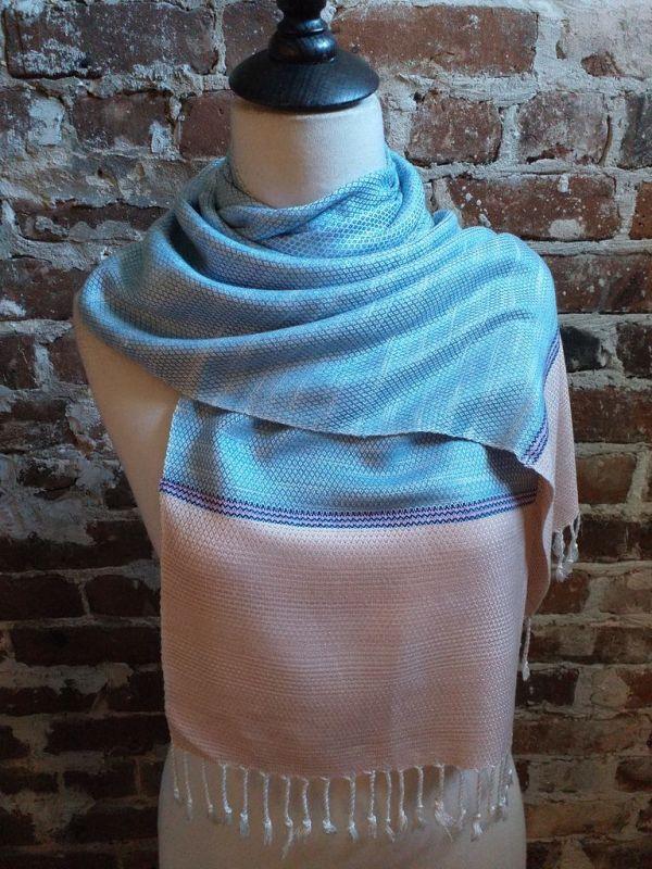 IGD904D Hand Woven Rayon Natural Indigo Dye Scarf