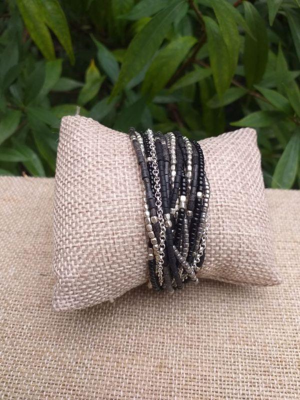JRB918a Handmade Bead Stone Metal Multi Wrap Bracelet