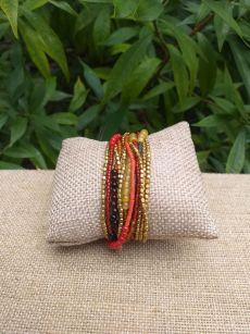 JRB920a Handmade Bead Stone Metal Multi Wrap Bracelet