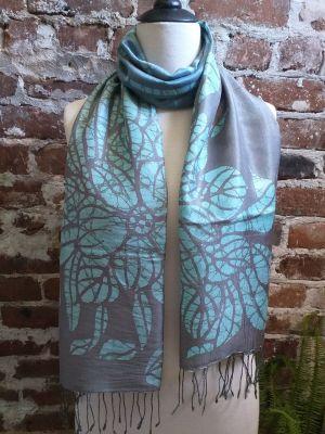 KED554a 100 Silk Hand Batik Shawl Scarf