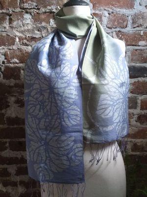 KED690d 100 Silk Hand Batik Shawl Scarf