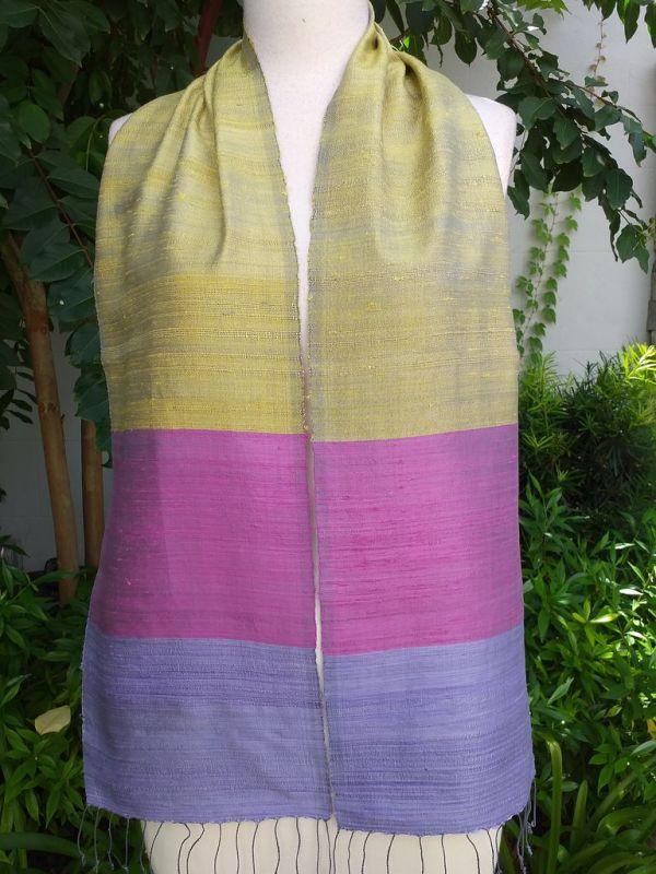 NDC740a Thai Silk Hand Woven Colorful Scarf