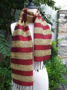 NFD123a Thai Silk Hand Woven Colorful Scarf