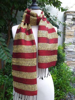 NFD123a Thai Silk Hand Woven Colorful Scarf