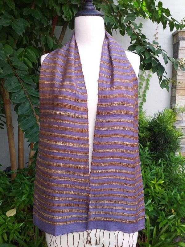 NNC005a Thai Silk Hand Woven Colorful Scarf