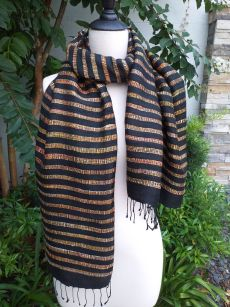 NNS563a Thai Silk Hand Woven Colorful Shawl