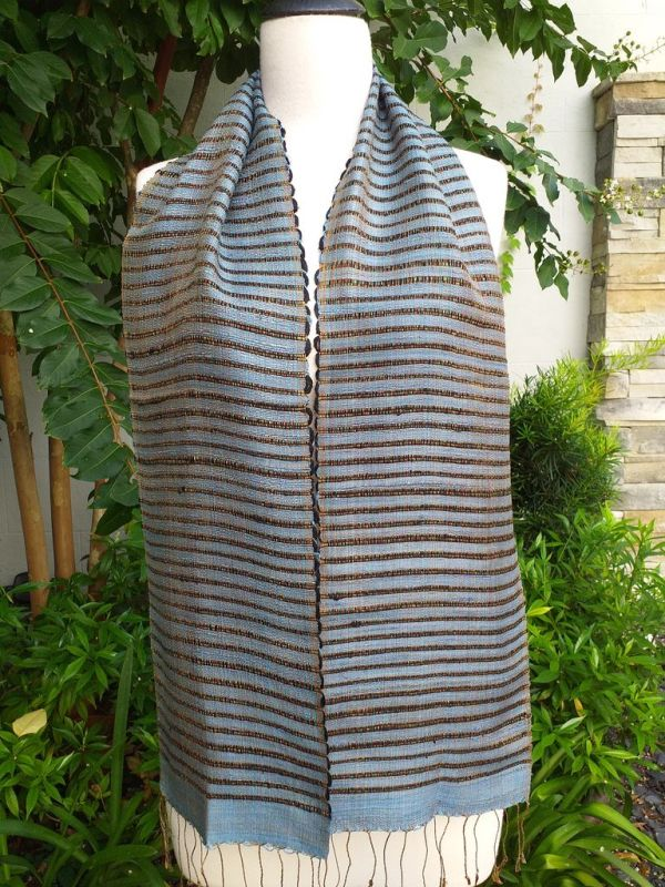 NSC522a Thai Silk Hand Woven Colorful Scarf