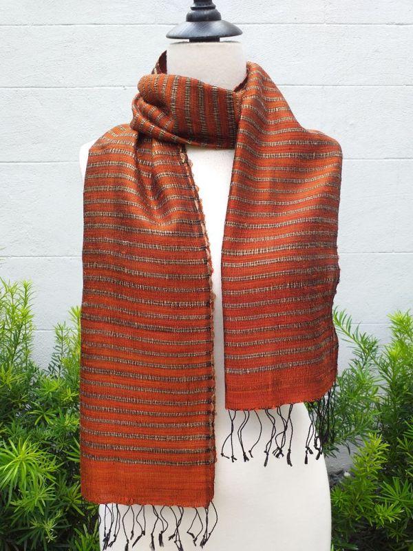 NSD008a Thai Silk Hand Woven Colorful Scarf