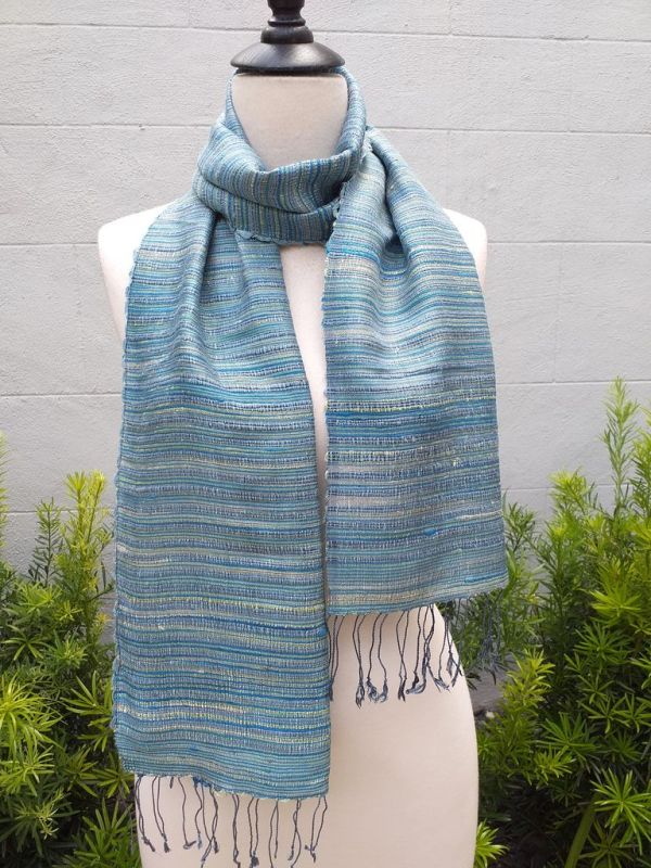 NSD555a Thai Silk Hand Woven Colorful Scarf