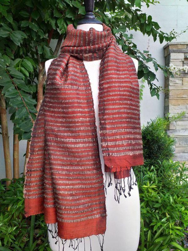 NSS008a Thai Silk Hand Woven Colorful Shawl