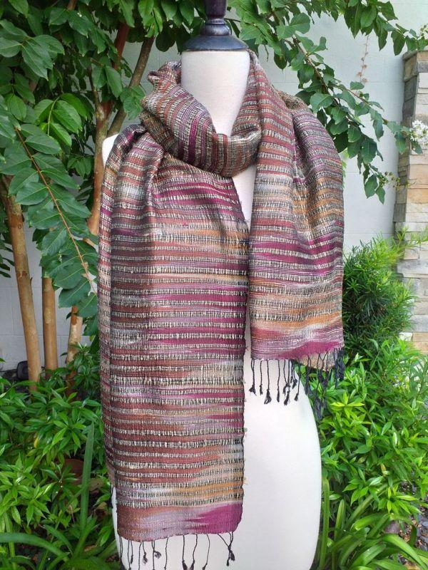 NSS631a Thai Silk Hand Woven Colorful Shawl