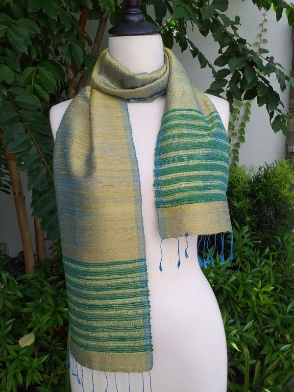 NTC077b Thai Silk Hand Dyed Striking Scarf
