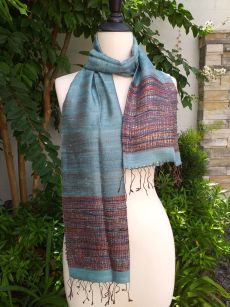 NTD857a Thai Silk Hand Woven Colorful Scarf