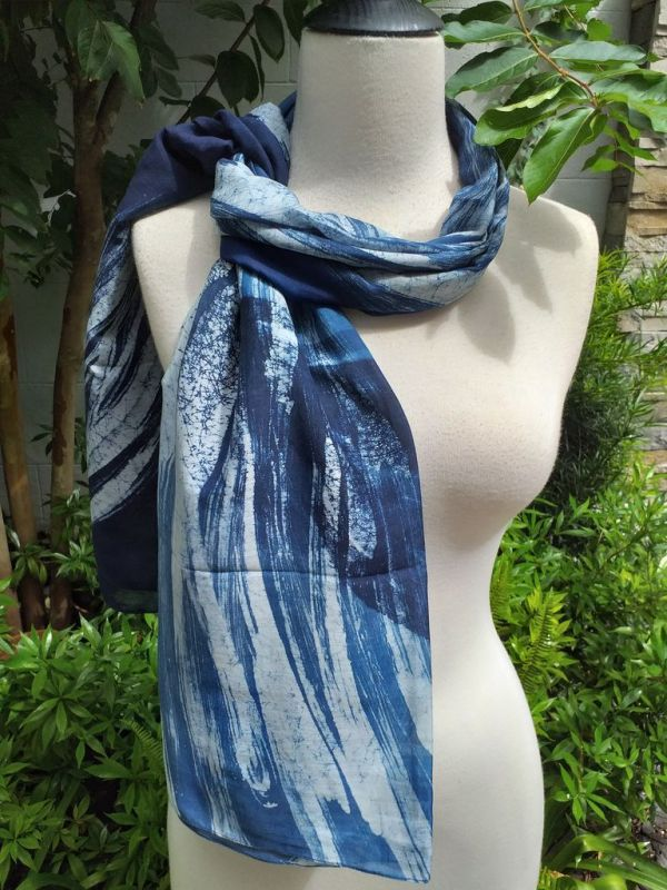 PIM026b 50 Cotton 50 Silk Scarf Hand Painted Unique Blue