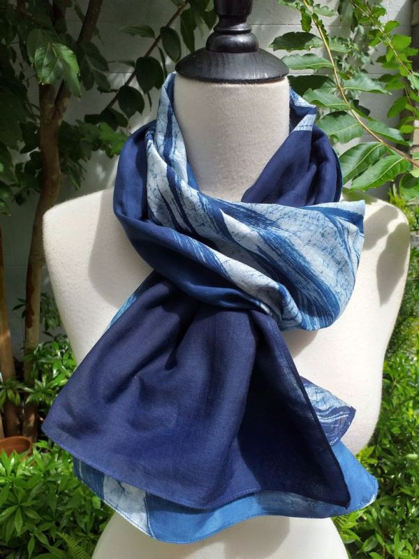 PIM026c 50 Cotton 50 Silk Scarf Hand Painted Unique Blue