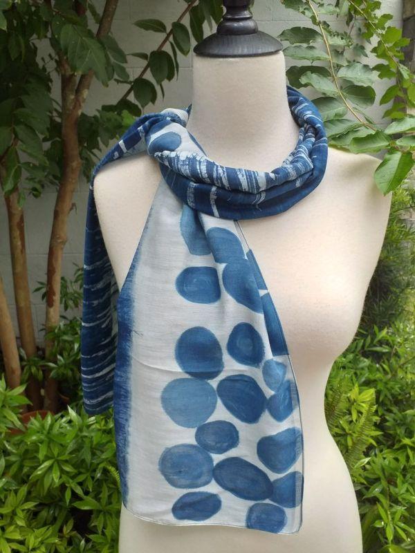 PIM037b 50 Cotton 50 Silk Scarf Hand Painted Unique Blue