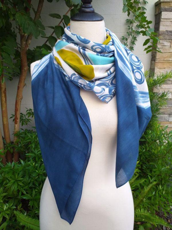 PIQ135a 50 Cotton 50 Silk Scarf Hand Painted Unique Square