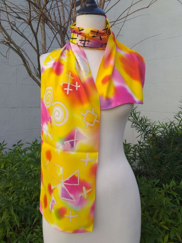 PYC062A 100 Natural Rayon Fiber Hand Painted Scarf