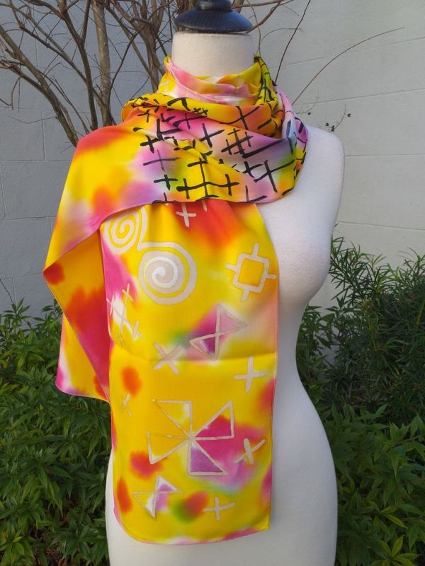 PYC062C 100 Natural Rayon Fiber Hand Painted Scarf