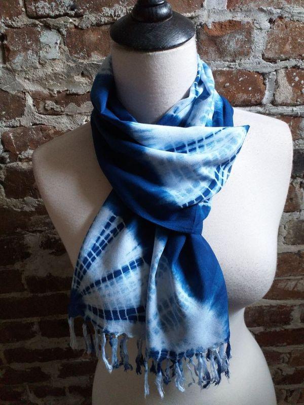 WEF793B Rayon Indigo Tie Dye Fringe Scarves