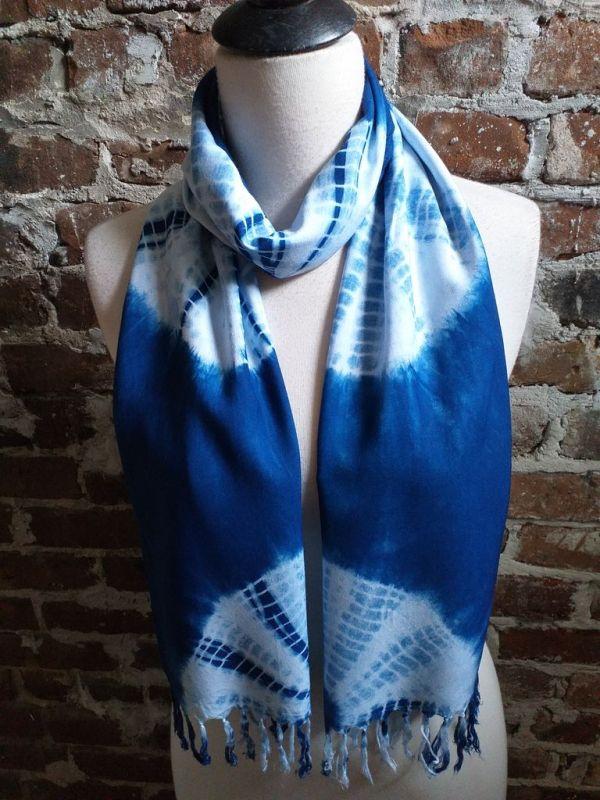 WEF793C Rayon Indigo Tie Dye Fringe Scarves