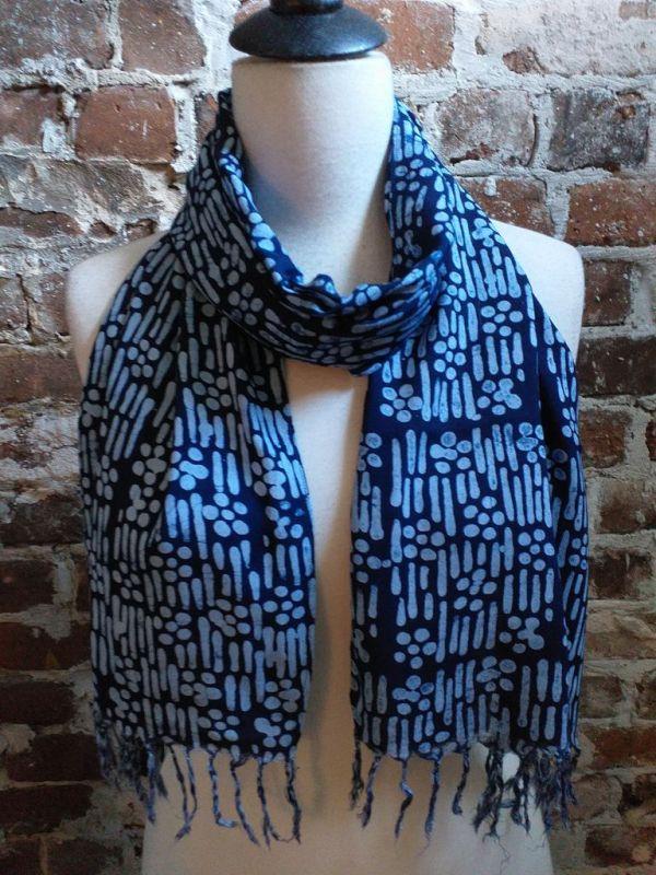 WEF801B Rayon Indigo Tie Dye Fringe Scarf