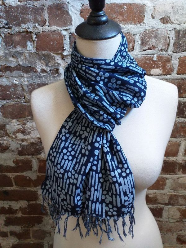 WEF801C Rayon Indigo Tie Dye Fringe Scarf