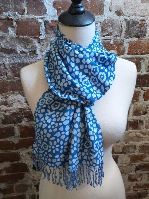 WEF803C Rayon Indigo Tie Dye Fringe Scarf