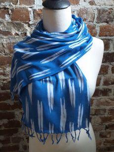 WEF806D Rayon Indigo Tie Dye Fringe Scarf