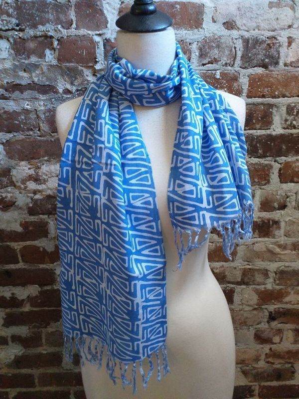 WEF813A Rayon Indigo Tie Dye Fringe Scarf