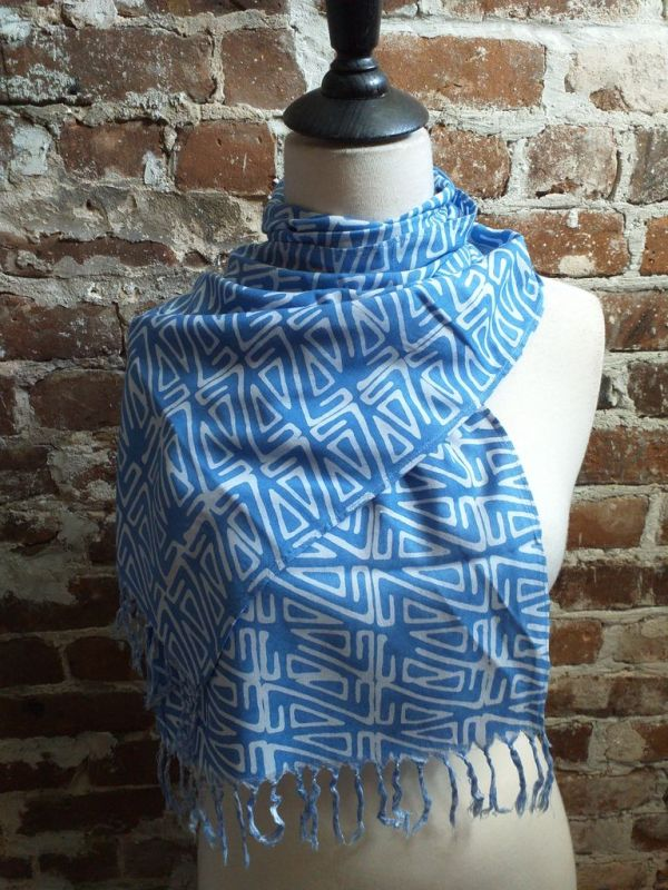 WEF813D Rayon Indigo Tie Dye Fringe Scarf