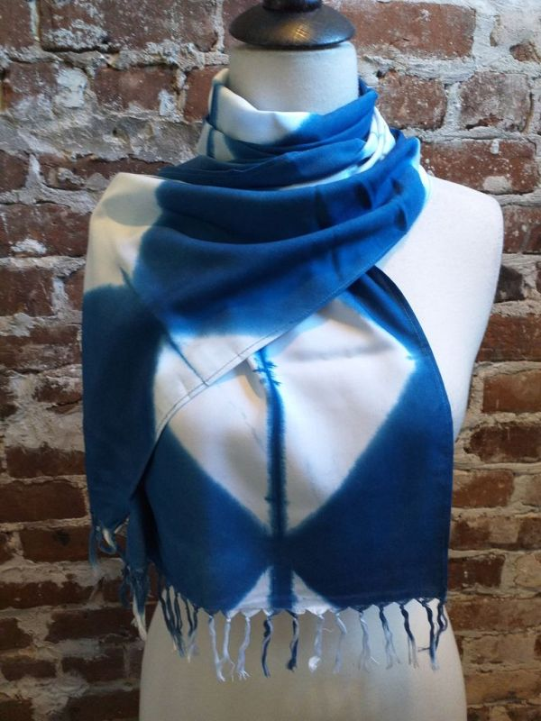 WEF851C Rayon Indigo Tie Dye Fringe Scarf