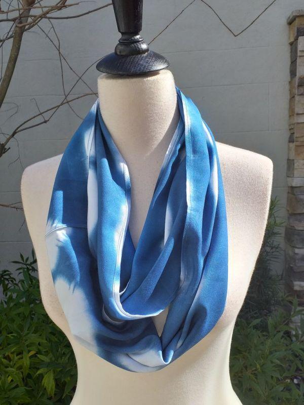 WEI775B Rayon Indigo Tie Dye Infinity Scarf