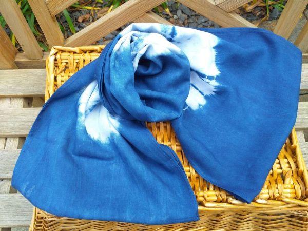 WEI793A Rayon Indigo Tie Dye Infinity Scarf