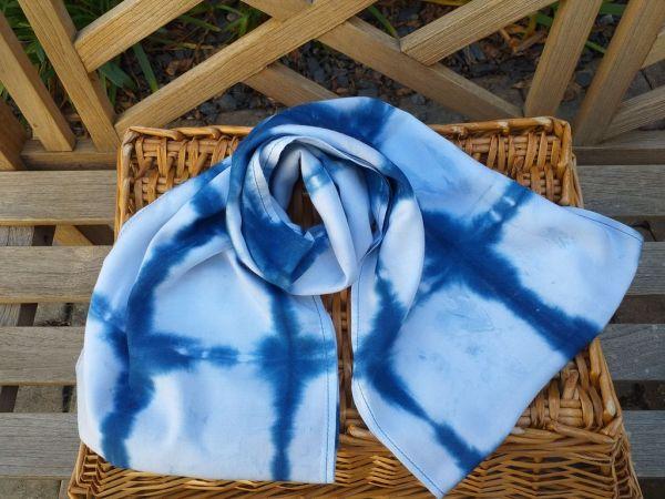 WEI822A Rayon Indigo Tie Dye Infinity Scarf