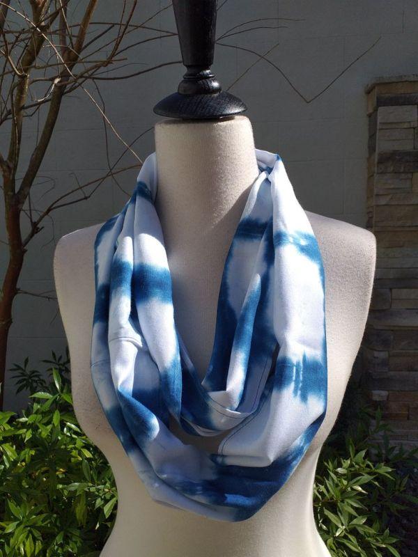WEI822B Rayon Indigo Tie Dye Infinity Scarf