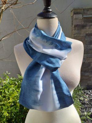 WEI826C Rayon Indigo Tie Dye Infinity Scarf