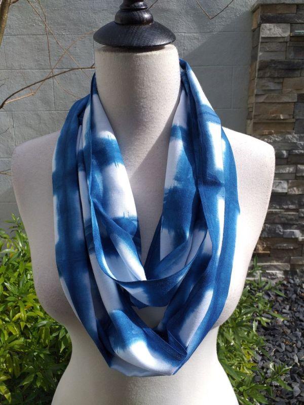 WEI850B Rayon Indigo Tie Dye Infinity Scarf