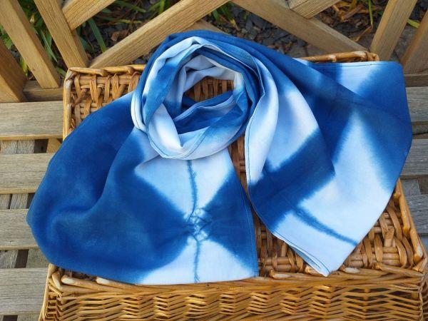 WEI851A Rayon Indigo Tie Dye Infinity Scarf