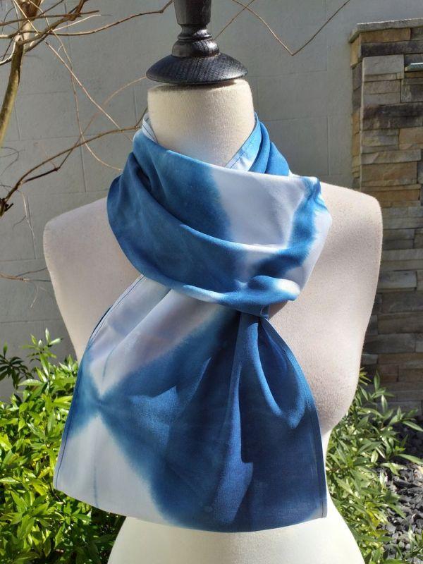 WEI851C Rayon Indigo Tie Dye Infinity Scarf