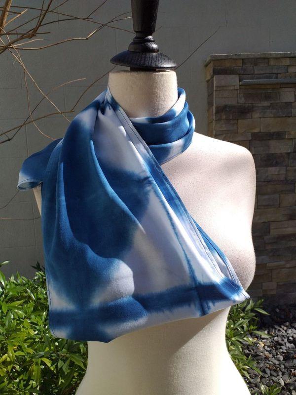 WEI851D Rayon Indigo Tie Dye Infinity Scarf